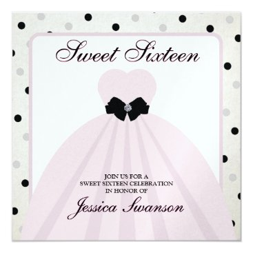 Elegant Lavender Blush and Black Sweet Sixteen Card