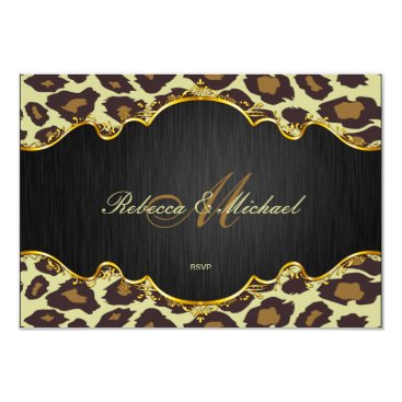 Elegant Leopard Monogram Wedding RSVP Cards