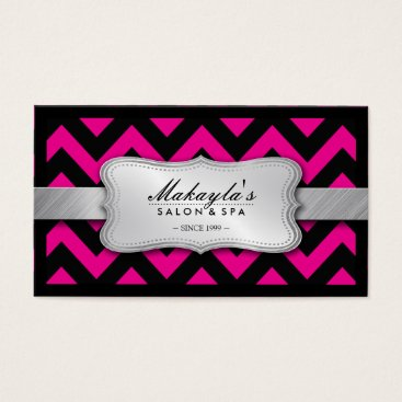 Elegant Magenta Pink and Black Chevron Pattern Business Card