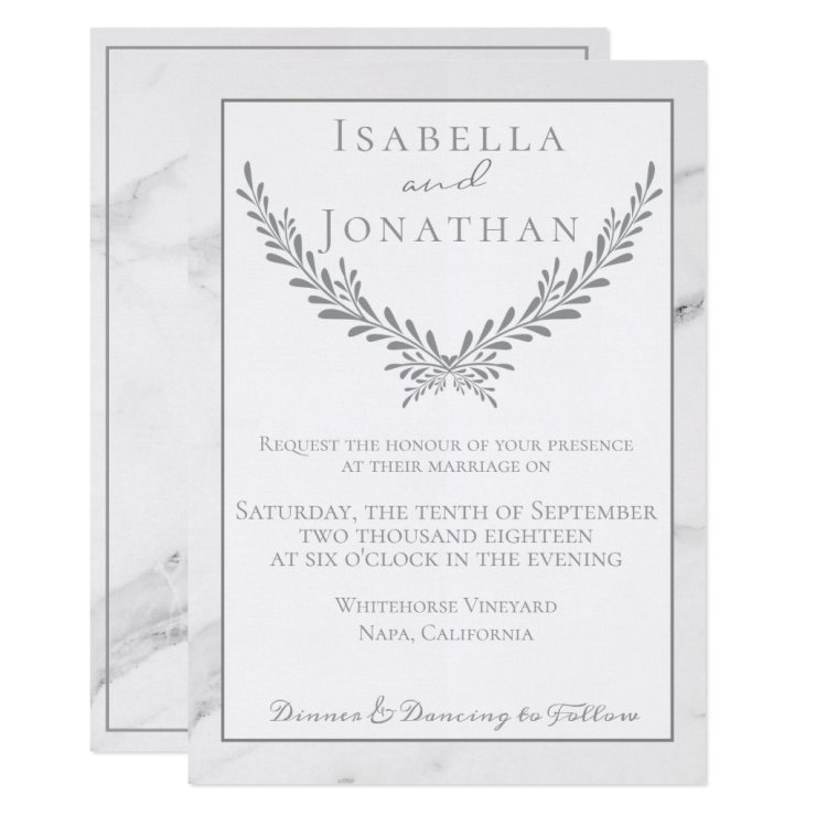 Elegant Marble and Wreath Wedding Invitation