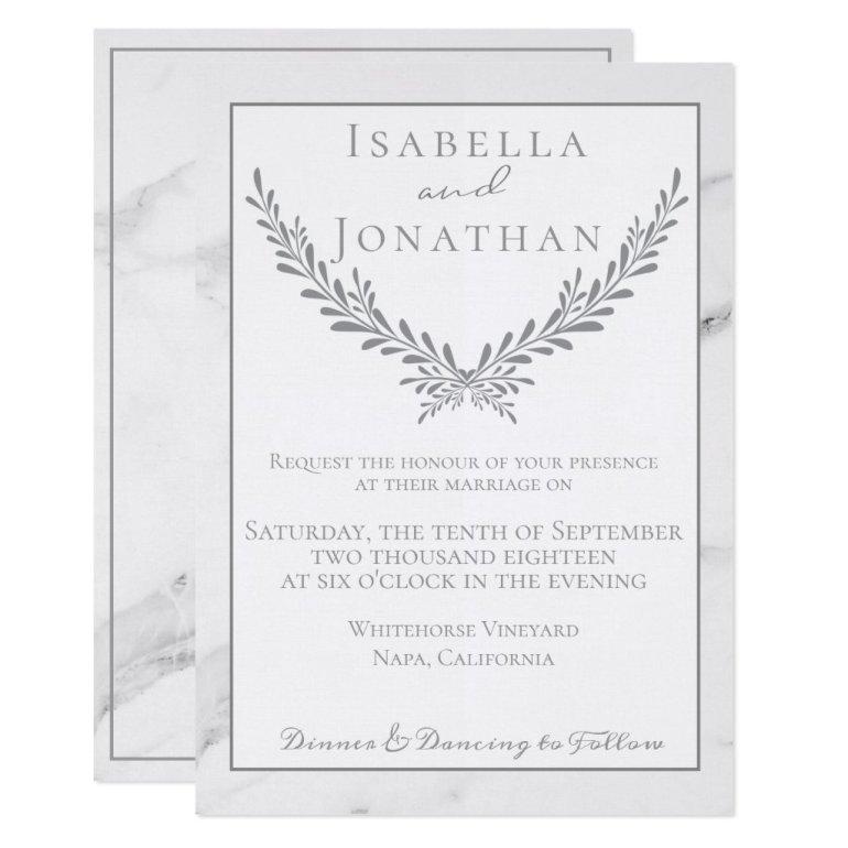 Elegant Marble and Wreath Wedding Invitation
