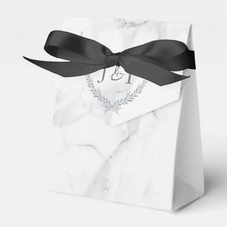 Elegant Marble and Wreath Wedding Treat Bag Favor Box