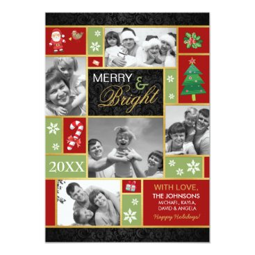 Elegant Merry & Bright Holiday Photo Cards