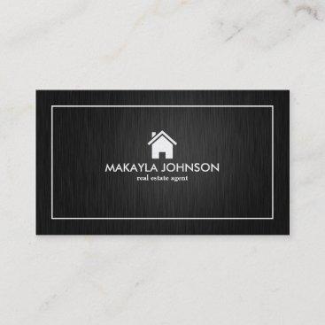 Elegant & Modern Black and Silver Real Estate Business Card