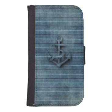 Elegant modern vintage anchor nautical galaxy s4 wallet case