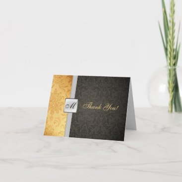 Elegant Monogram Damask Thank You Card