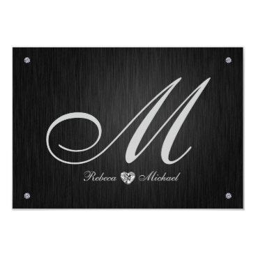 Elegant Monogram  & Diamond Wedding RSVP Cards. Invitation