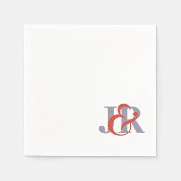 Elegant Monogram Wedding Cocktail Paper Napkins