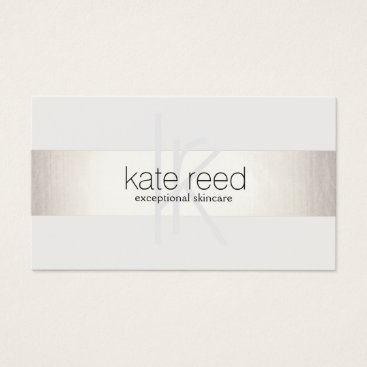 Elegant Monogram White Modern FAUX Silver Striped Business Card