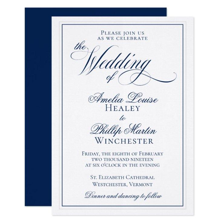 Elegant Navy Blue and White Wedding Invitation