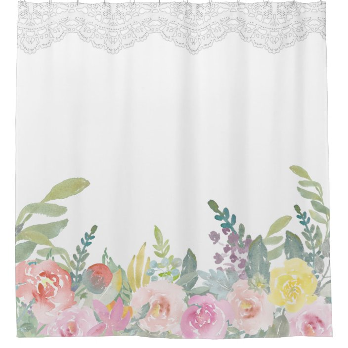 elegant ombre shabby chic spring floral lace shower curtain zazzle com