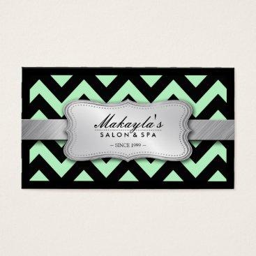 Elegant Pastel Green and Black Chevron Pattern Business Card