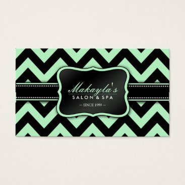 Elegant Pastel Green and Black Chevron Pattern Business Card