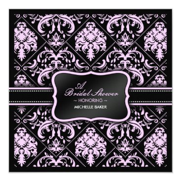 Elegant Pastel Pink and Black Damask Bridal Shower Invitation