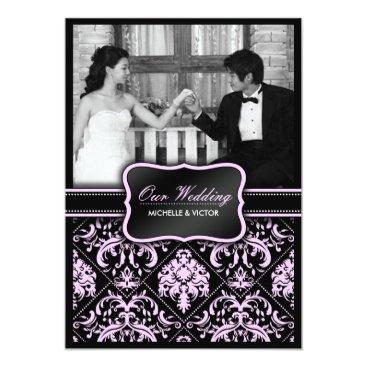 Elegant Pastel Pink and Black Damask Wedding Photo Card