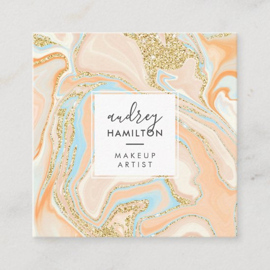 Elegant peach blue marble chic gold glitter makeup square business card