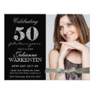 Elegant Photo 50th Birthday Celebration Custom Invite