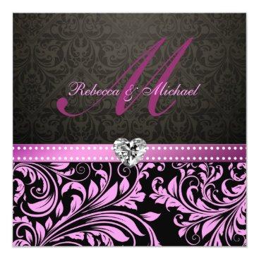Elegant Pink and Black Damask Wedding Invites