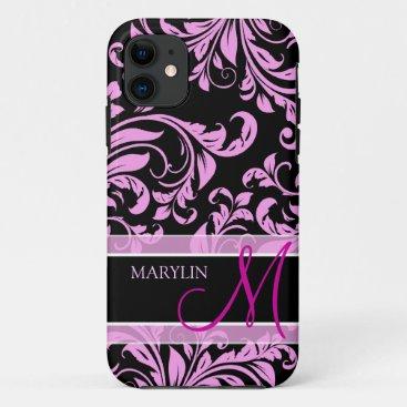 Elegant pink and black damask with monogram iPhone 11 case