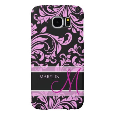 Elegant pink and black damask with monogram samsung galaxy s6 case