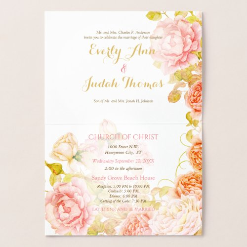 Elegant Pink, Coral and Gold Foil Rose Wedding Foil Card
