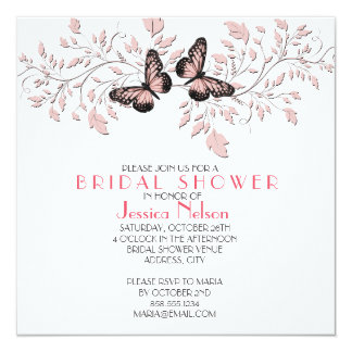 Elegant Pink Floral Butterfly Bridal Shower Invitation