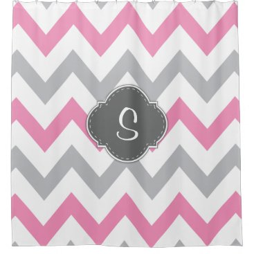 Elegant Pink, Grey and White Chevron with Monogram Shower Curtain