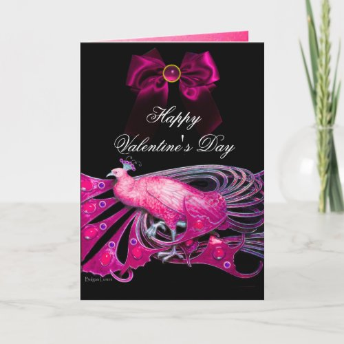 ELEGANT PINK PEACOCK,BOW,GEM STONE,VALENTINE'S DAY HOLIDAY CARD