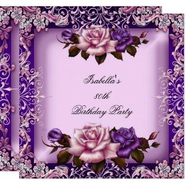 Elegant Pink Purple Lilac Rose 80th Birthday Party Invitation