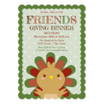 Elegant Polka Dots Friendsgiving Turkey Dinner Invitation