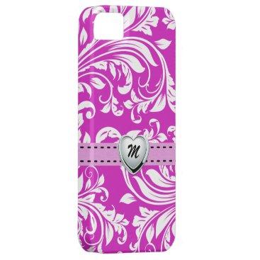 Elegant Purple and White Damasked Pattern iPhone SE/5/5s Case