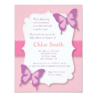 Elegant Purple butterfly baby shower Card