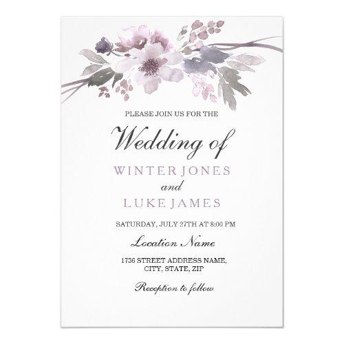 Elegant Purple Gray Winter Floral Wedding Invite
