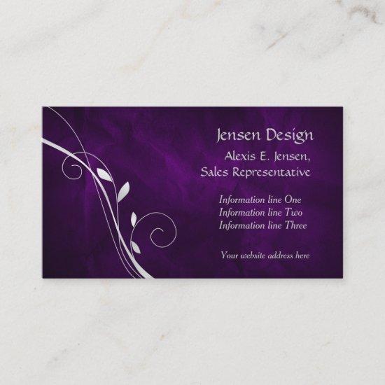 Elegant Purple Silver Leaf Swirl Business Card