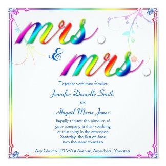 Elegant Rainbow Fl Mrs Wedding Invitation