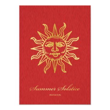 Elegant Red and Gold Metallic Summer Solstice Card