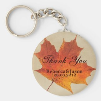 Elegant Red Maple Leaves Fall Wedding Basic Round Button Keychain
