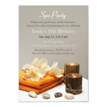 Elegant Relaxing Spa Birthday Party Invitations