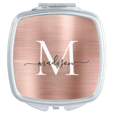 Elegant Rose Gold Brushed Metal Monogram Script Compact Mirror