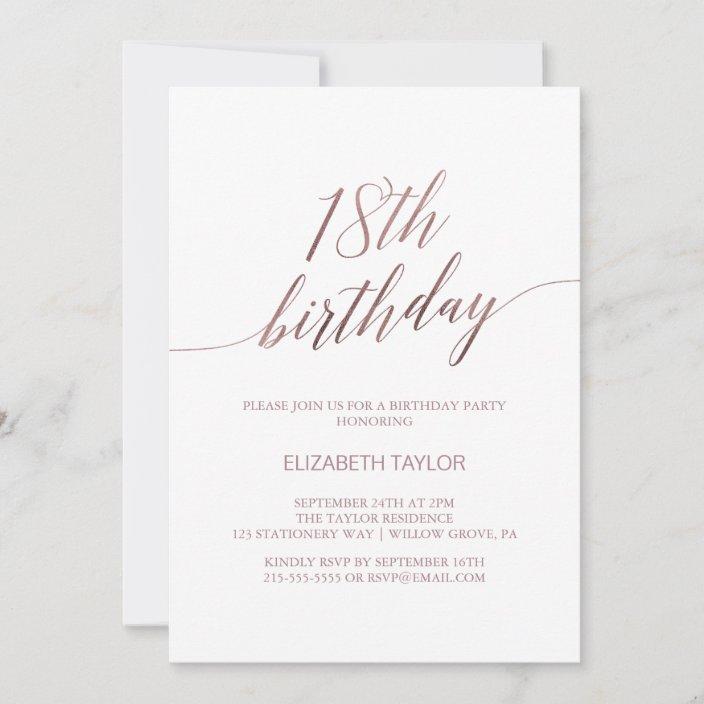 elegant rose gold calligraphy 18th birthday invitation zazzle com