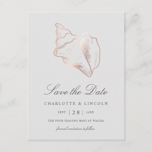 Elegant Rose Gold Conch Wedding Save the Date Announcement Postcard