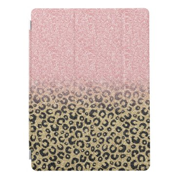 Elegant Rose Gold Glitter Black Leopard Print iPad Pro Cover