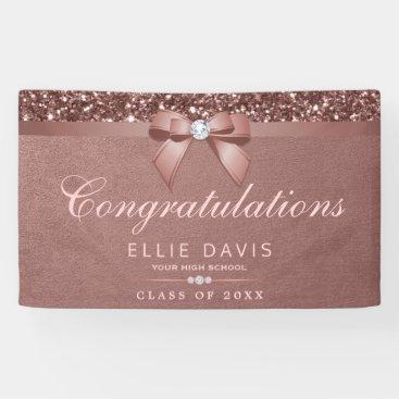 Elegant Rose Gold Graduation Diamonds Bow Glitter Banner