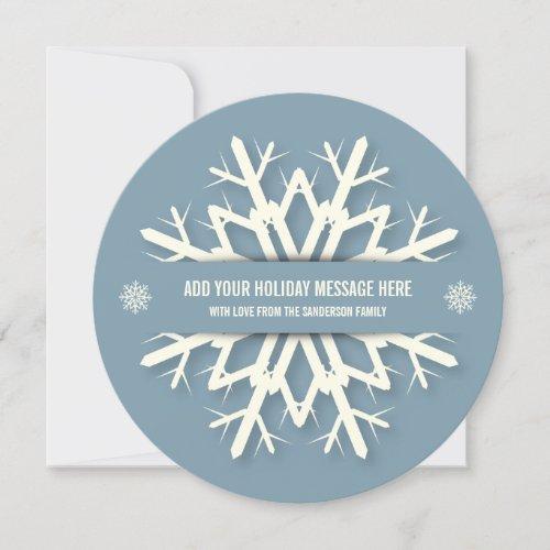 Elegant Round Blue Snowflake Christmas Photo Card