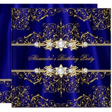 Elegant Royal Blue & Gold Damask Birthday Party Card