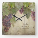 Elegant Rustic Vineyard Winery Fall Wedding Gift Square Wallclock