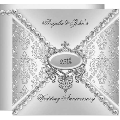 Elegant Silver 25th Wedding Anniversary Damask Invitation