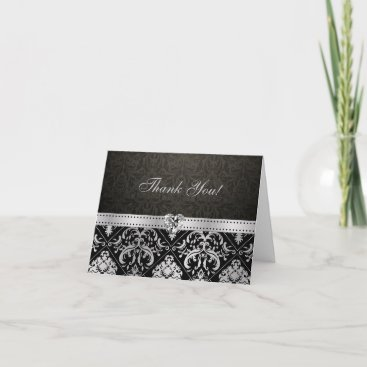 Elegant Silver and Black Damask with Diamond Heart Thank You Card