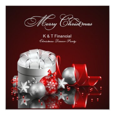 Elegant Silver and Red Corporate Christmas Party Card