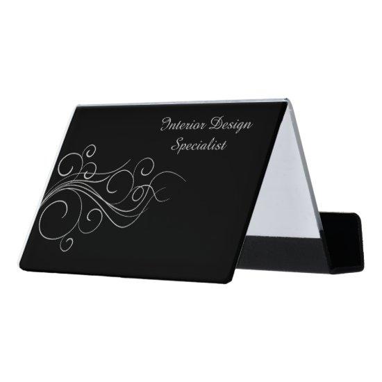 Elegant Silver Black Professional Desk Business Card Holder